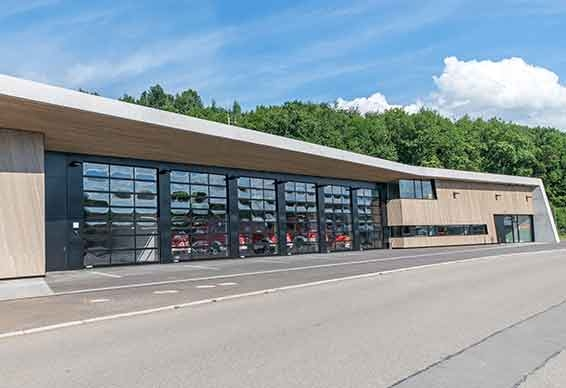 Newly built fire station in Wannweil, Germany