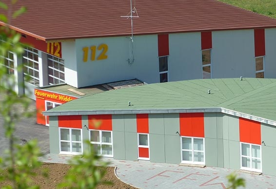 Newly built fire station in Widdern